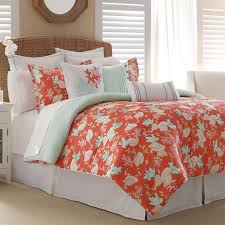 Coral Bedspread Coraling And Curtains Outstanding Curtain Interesting Comforter On