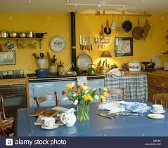 blue plastic cloth on table in yellow country kitchen with pastel