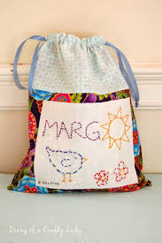 diary of a crafty lady personalized drawstring bag birthday gift