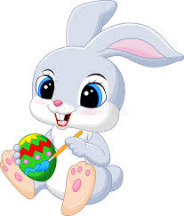 bunny easter easter bunny painting an egg stock vector