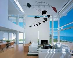 sunlight from glass wall modern living room design beach house