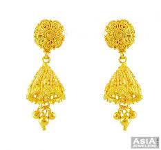 fancy jhumka earrings 22k gold fancy filigree jhumka ajer56170 22k gold fancy jhumka