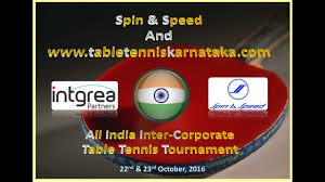 Table Tennis Tournament by Table Tennis Karnataka All India Inter Corporate Table Tennis