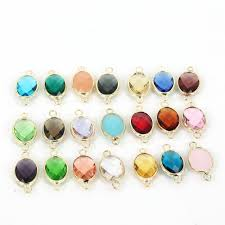stone charm necklace images Gem stone imitation zircon glass faceted bezel framed connector jpg