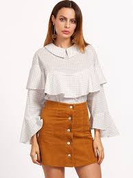 ruffle blouses white grid chelsea collar ruffle blouse emmacloth fast