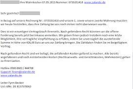 zalando si e social emails containing invoices from zalando and deutsche bahn