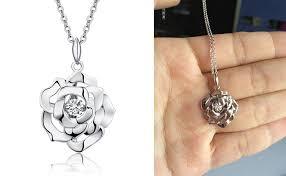 rose necklace diamond images Charm rose necklace dancing rose necklace sterling jpg