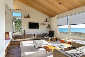sparkling floating media cabinet family room tropical with pool