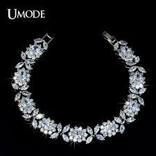 bracelet diamond designs images Umode white gold color queen flower design cubic zirconia bracelet jpg