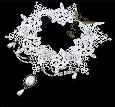 white lace choker necklace images 2019 imitation pearl white black lace choker necklaces bridal jpg