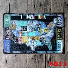 license plates map vintage tin sign bar pub home wall decor