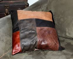 Upcycled Leather Bags - hand crafted upcycled leather patchwork pillows large square