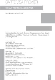 axa iard siege social notices d information assurances assistance cartes visa