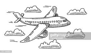 airplane sky clouds drawing vector art getty images