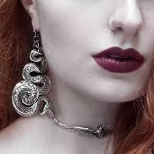 grunge earrings malice chunky silver snake earrings lilith bat wing choker