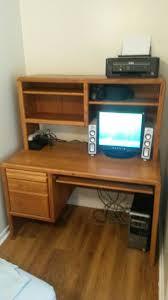 encore brand oak computer desk with hutch slide out keyboard