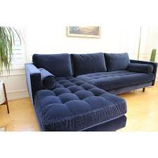 Blue Velvet Sectional Sofa Mid Century Modern Navy Blue Velvet Sectional Sofa Chairish