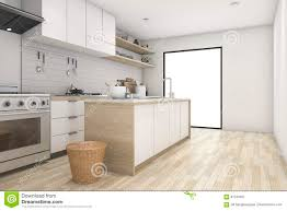 3d rendering white minimal kitchen with contemporary wood stock