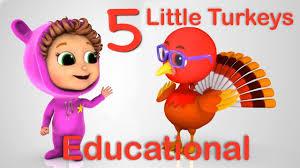 thanksgiving rhyme 5 little turkeys learn counting nursery rhymes educational
