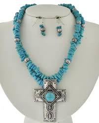 blue stone necklace earrings images Southwestern beaded light blue stone cross statement necklace jpg
