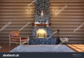 room interior log cabin building stone stock illustration