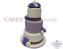 3 tier wedding cake 3 tier purple white tower wedding cake c543 icing cakes