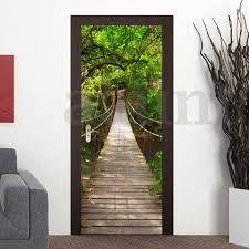 3d pvc self adhesive door wall sticker living room forest bridge 3d pvc self adhesive door wall sticker living