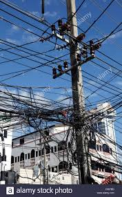 telegraph poles and dangerous tangled mass of electricity wires