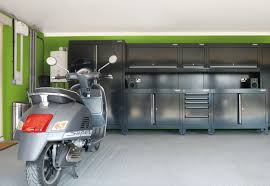 prepossessing garage design ideas catchy green wall paint and dark prepossessing garage design ideas catchy green wall paint and dark cabinet storage also sleek flooring as idea