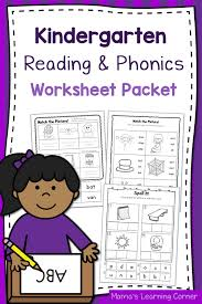 kindergarten reading and phonics worksheet packet mamas learning