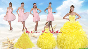 yellow sweetheart quinceanera dress and pink knee length prom
