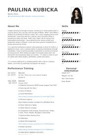 dancer resume samples visualcv resume samples database