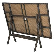 asinara rectangle wicker folding patio dining table brown