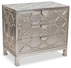 Silver Nightstands Jodie Hollywood Regency German Silver 3 Drawer Dresser