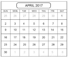 download 2017 april calendar template printable personalised