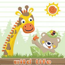 imagenes de amistad jirafas vector de dibujos animados de amistad entre jirafa y oso descargar