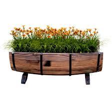 vintiquewise half barrel garden planter large qi003140 l the