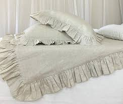 amazon com ruffle natural linen duvet cover ruffle bedding