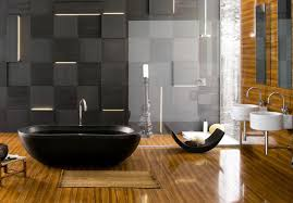 polished wood flooring for large bathroom decorating idea with