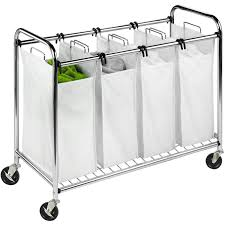 Stainless Steel Laundry Hamper by Honey Can Do Heavy Duty Quad Sorter Chrome Walmart Com
