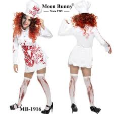 Zombie Costumes Bloody Chef Zombie Costume Women Cook Party Dress Chef