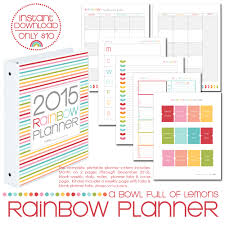 printable planner pages for 2015 2015 rainbow planner core kit printables by a bowl full of lemons