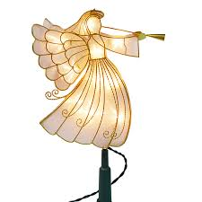 angel christmas tree topper shop living 11 125 in pre lit white incandescent metal