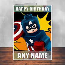 lego captain america birthday card personalised plus envelope ebay