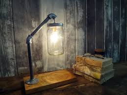diy mason jar light with iron pipe mason jar desk l industrial l mason jar light
