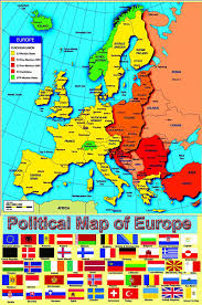 Map Of Europe 1500 by Laminated Political Map Of Europe European Poster With Flags
