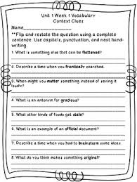 hill reading wonders context clues worksheets unit 1 4th grade