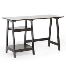 Ikea Laptop Table For Bed Furniture Sawhorse Desk With Iron Legs And Table Lamp And Wooden