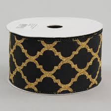 black and gold ribbon 2 5 black quatrefoil ribbon gold metallic glitter 10 yards