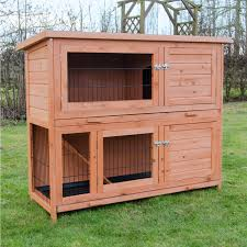 Cheap Rabbit Hutch Milan Large Two Tier Rabbit Hutch With Enclosed Run Pisces